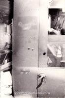 #03 Notice that these are exit wounds inflicted on Outlaw 15 by the 25th ID doorgunner while he was cleaning an M2 for one of our pilots. According to Bob Lay, the M2 belonged to Captain John Glenn and the gunner may have been Paul Wintworth. The incident occured while we were on the ground at An Khe, probably supporting an ARVN operation in Pleiku. It was most likely July or August of '65, prior to the arrival of the 1st Cav. The gunner is shown in picture #17 below - can anyone confirm that this is Paul?